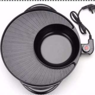 Grill pan with shabu shabu hot pot