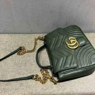 Gucci Marmont GG Shoulder Bag Olive Green Color