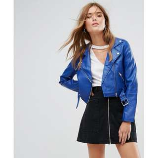 Pull&Bear Leather Look Biker Jacket - Blue | Small