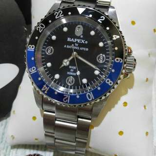 A BATHING APE Bape Watch Type 2 Bapex Black/Blue 88% New