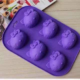 【阿芳的寶貝窩】六連凱蒂Hello Kitty貓卡通矽膠蛋糕模.DIY手工皂模.多表情kt貓頭