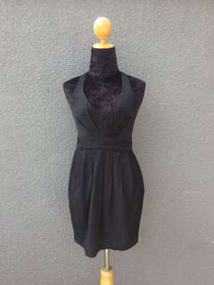 Black halter long back dress