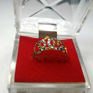 916 Real Yellow Gold With White Gold Round Round Pattern Ring