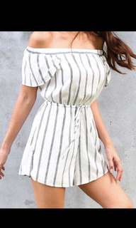 KIN stripes off shouler romper