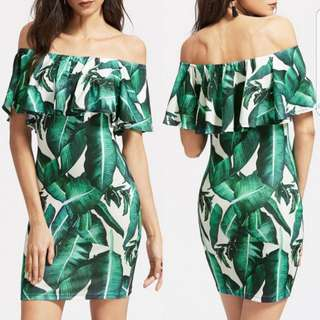 Topshop Bodycon Palm Leaves Tropical Summer Sexy Off Shoulder Party Casual Dress