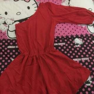 Dress red one shoulder