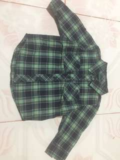 Green and dark blue checkerd longsleeves