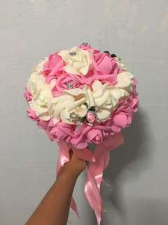 Foam Bridal Bouquet (Pink & Ivory) for Photoshoot
