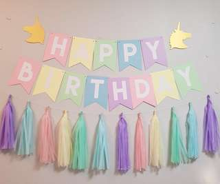 Rainbow birthday banner in Unicorn theme & Rainbow tassels