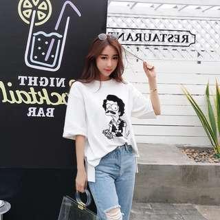 韓版復古刺繡卡通圓領短袖T恤寬鬆百搭上衣 街頭潮流中性上衣