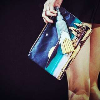 Anya Hindmarch Satin Clutch W leather tassle