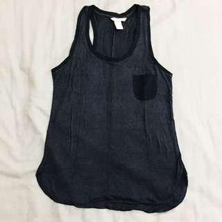 H&M 素色鐵黑色口袋紗網拼邊線拼接背心上衣
