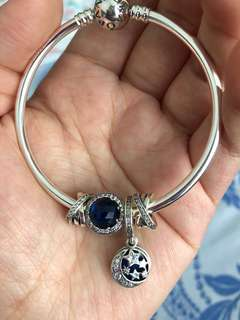 Pandora  Bangle and charms - winter blue collection (full set)