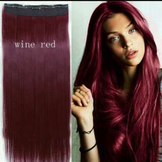 *Brand new from preorder x 2 instock Clip on straight Hair Extension in wine red *Brand new in package *pm if int