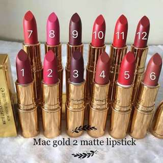 Mac Gold Matte Lipsticks