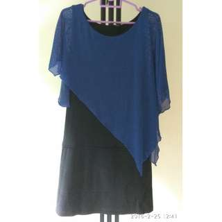 Straight cut black with blue  meshed dress