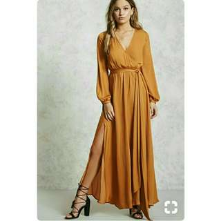 Auth Forever 21 Wrap up Long Sleeve Maxi Dress Mustard
