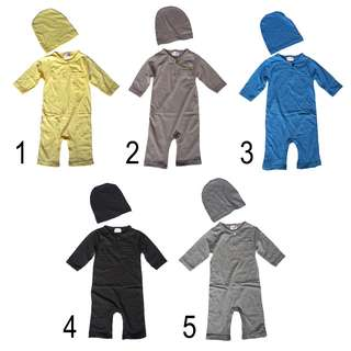 Baby Romper Plain with Hat
