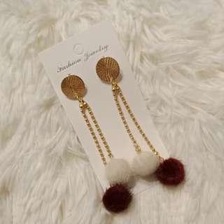 White & Red Long Fluff Earrings