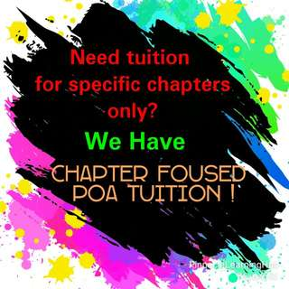 Chapter Specific Principles of Accounts (POA) Tuition