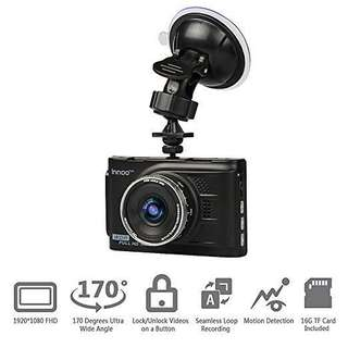 INNOO Tech WDR Night Vision Dash Cam, 170 Degrees Wide Angle Lens Car Camera, 3.0'' LCD Screen, 1080P Full HD Car Video Recorder, Seamless Loop Recording, Motion Detection - Black