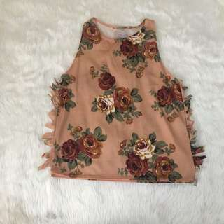 Peach Floral Fringe Top