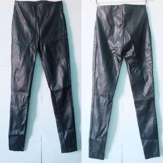 SPORTSGIRL - XS PVC leather black tights jeggings leggings