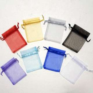 (XS) Drawstring Pouch/ Bag, Satin Ribbon String ↪ Colorful Organza Bag 彩色纱布袋 💱 $0.20 Each Pieces