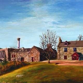 Glendronach distillery Scotland oil painting