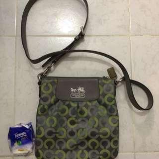 Coach grey green hangbag