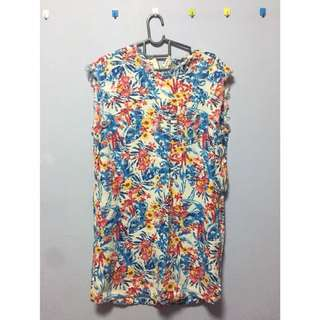 Flowery with jean material dress