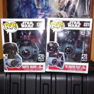 (ON HAND) Star Wars Darth Vader & Tie Fighter Pilot in Tie Fighter Deluxe Funko Pop