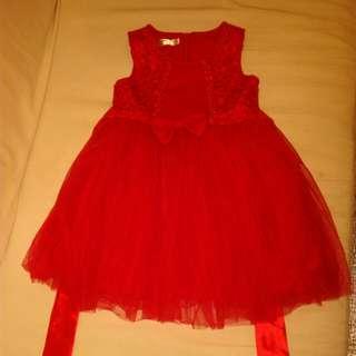 大紅公主裙子