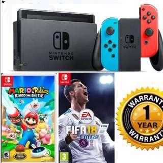 Brand New Nintendo Switch Neon set + Mario & Rabbids + FIFA 18