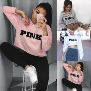 Sweatshirt Long Sleeves Hoodies Crop Tops Pullover Hooded Jumper Blouse