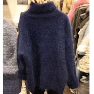 高領長袖毛衣 深藍色