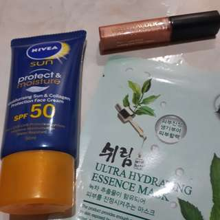 Nivea Sunblock Face Mask and Estee Lauder Lip gloss