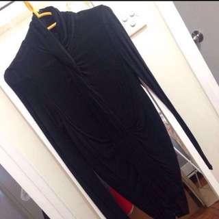 BCBG draped polo under jacket