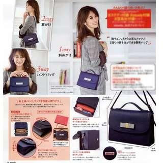 日本 雜誌 steady 藍色手袋 孭袋 Apuweiser-riche兩用包