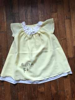 9-12 month baby girl Mothercare yellow dress