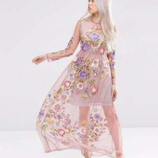 ASOS pretty embroidered mesh dress - size 18