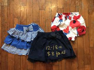 12-18 month bundle of skirts and shirts for baby girl