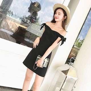 (BN) off shoulder Black Dress