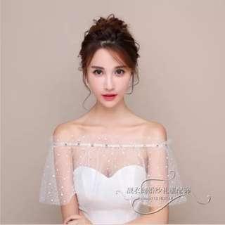 全新 婚紗 披肩 pre wedding 婚照 婚後物資