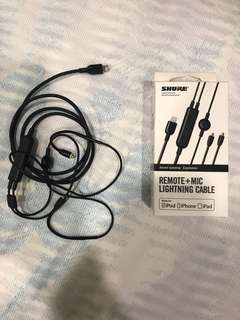 Shure Remote + Mic Lightning Cable