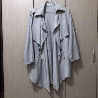 🚚 全新 韓國韓版歐美俐落簡約灰色灰藍色棉質寬鬆一粒扣長版風衣外套