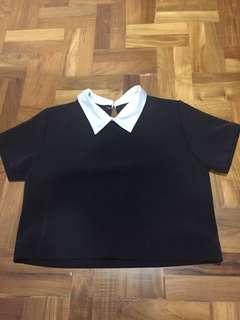 Black white collar crop short sleeve top