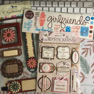 Scrapbooking stickers and chipboard stickers - Friendship theme