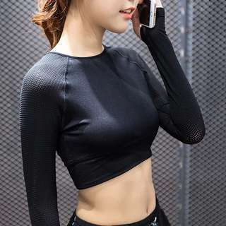 Cropped long sleeve exercise top