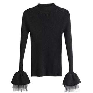 (More cols) Textured Knit Mesh layered cuff detail top / jumper